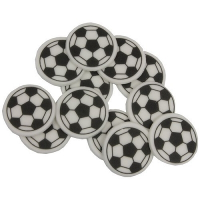 Voetbalschildje suiker zwart/wit Ø27mm  12st.